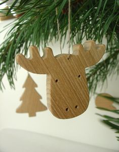 Christmas tree decorations - wooden animals and tree - set of 5, via Etsy.