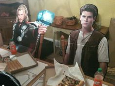 Hemsworth family dinner, good gosh, the things people do with their cut outs...