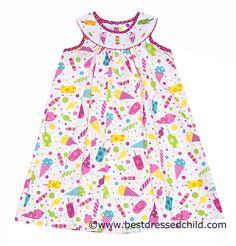 Vive la Fete Girls Pink Ice Cream Treats Print Smocked Cones Bishop Dress