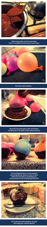 Chocolate cupsI saw this idea a while ago and now I finally tried it myself. This is a really delicious and creative dessert! Just make sure...