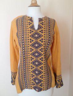 Vintage Unisex  India Shirt in Orange Blue on Etsy, $22.00