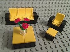 Lego Yellow Living Room Set Couch Chair Ottoman Coffee Table Town City Steelers |