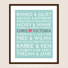 Famous Couples Subway Print - Fully Customizable - Unique Wedding, Valentines or Anniversary. But no Romeo and Juliet! Diy Pour La Rentrée, Wedding Gifts, Our Wedding, Cinderella And Prince Charming, Famous Couples, Barbie And Ken, Be My Valentine, Unique Weddings, Diy Gifts