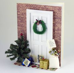 christmas door 3 d greetings card by karrie barron cards   notonthehighstreet.com