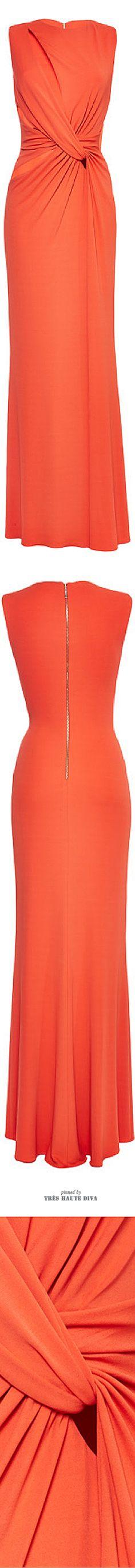 Elie Saab Orange Jersey Twisted Knot Dress ♔ SS 2015