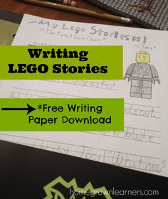 Writing LEGO Stories with free printable paper Teaching Writing, Kids Writing, Writing Paper, Writing Ideas, Teaching Boys, Writing Skills, Writing Prompts, Kids Learning, Lego Activities