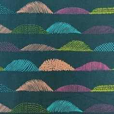 Thatched hills in bright colours cover this cotton linen blend by Eri Shimatsuka. Linen Sheets, Patchwork Fabric, Cotton Linen, Fabric Weights, Fancy, Green, Pattern, Fabrics, Crafting