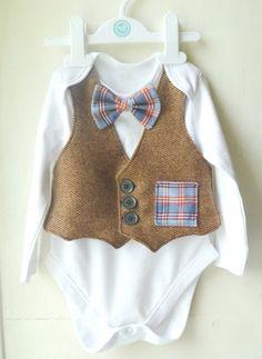 Baby Boy vintage  tweed waistcoat onsie 9 to 12 by BirdyandBo
