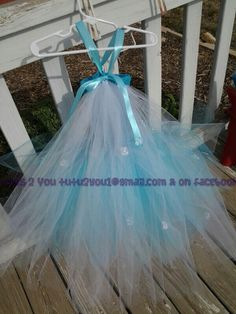 Inspired tutu dress by Frozen princess Elsa back view/cape.  Created by Angie @ Tutus 2 You