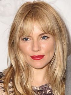 Long Haircuts for Triangle Shaped Faces: Overgrown Fringe, Sienna Miller