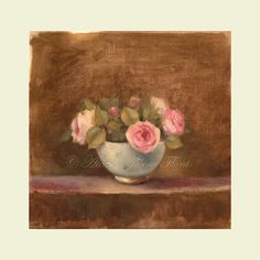 Antique roses in a blue-grey & gold vase  - Original oil  painting  Helen Flont