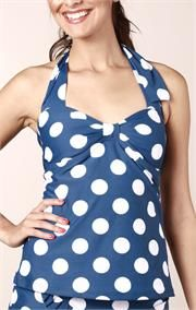 vintage blue polka dot swim set with matching skirt. Super cute