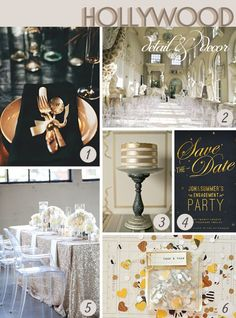 Bottom right - love the idea of dressing the table with silver lame/ sequined fabric