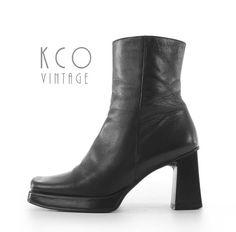 c1978816fe0 Black Ankle Boots 6 Block Heel 90 s Vintage Platform Shoes   Genuine  Leather 1990 s Nine West Made in Brazil Women s Size US 6   UK 4   EU36