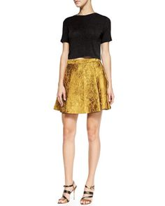Short-Sleeve Crewneck Crop Top & Vernon Metallic Jacquard Pleated Skirt by Alice + Olivia at Bergdorf Goodman.
