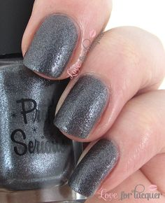 Pretty Serious Cosmetics - Starship Doom. Gunmetal metallic textured shimmer. Again, not as sparkly and textured as the rest but still stunning! This is definitely for those of you who are just trying out textured polishes