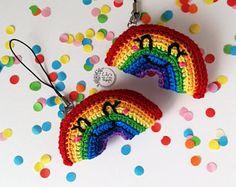 crochet rainbow Keychain