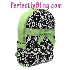 QUILTED FLORAL BACKPACK WITH BOW - GREEN BACKPACK  $24.99