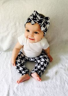 High fashion baby couture houndstooth baby leggings and headband