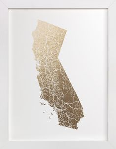 """California Map Filled"" - Foil-pressed Art Print by GeekInk Design. Gold Foil Print, Foil Prints, California Map, Paper Wall Art, Diy Holz, Map Design, Foil Stamping, Map Art, Art Pictures"