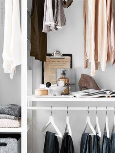 My latest work for IKEA Livet hemma. Wardrobe Closet, Walk In Closet, Elvarli Ikea, Decorating Blogs, Interior Decorating, Pella Hedeby, Stil Inspiration, Simple Closet, Hemnes