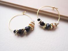 スノーフレークオブシディアンのフープピアス Glass Earrings, Drop Earrings, Ear Rings, Sea Glass, Jewelery, Packing, Beads, Bracelets, Gold