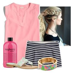 """Think pink"" by flroasburn ❤ liked on Polyvore featuring J.Crew, philosophy, Jack Rogers and Lilly Pulitzer"