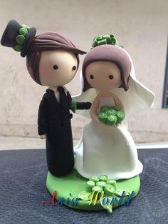 Green Wedding Cake topper bambola di argilla di nozze
