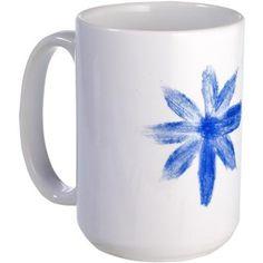 Blue metallic flower Mug on CafePress.com