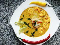 Przepis na zuapa tajska z krewetkami. Pyszne zdrowe jedzenie, Tajska kuchnia to jedna z najzdrowszych na całym świecie. Fit, dietetyczne dania. Recipe Images, Prawn, Cheeseburger Chowder, Thai Red Curry, Food Porn, Food And Drink, Ethnic Recipes, Bread, Diet