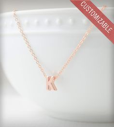 Personal Initial Necklace in Rose Gold.