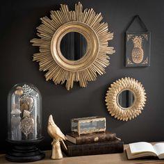 Espejo redondo dorado H 22 cm MONTAUK