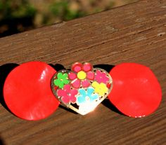 French Clip Handmade Woman's Barrette, Repurposed Hair Barrette, Red, With Colorful Heart flower, Recycled, Upcycled on Etsy, $14.00