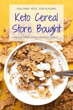 Our favorite keto cereal store bought options! Low carb cereal brands that you will wake up excited to eat! Finally low glycemic cereal options that taste like your favorite sugary childhood cereals! Check out the top keto cereal brands on our low carb ce Low Carb Cereal, Keto Cereal, Low Carb Keto, Low Carb Recipes, 7 Keto, Keto Taco, Raw Recipes, Ketogenic Recipes, Dieta Macros