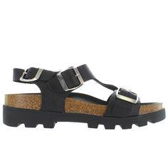 SixtySeven Neva - Black Leather Triple Buckle Footbed Lug Sandal