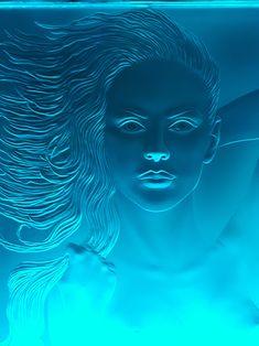 Mermaid sandblasted art glass by Stuebner Glass Design