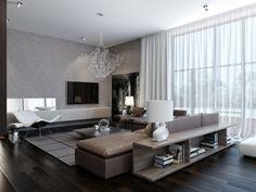 wohnzimmer-grautoene-modern-regale-hinter-sofa