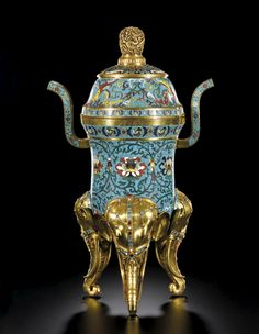 AN OUTSTANDING IMPERIAL CLOISONNÉ TRIPOD CENSER<br>INCISED MARK AND PERIOD OF KANGXI | Lot | Sotheby's