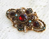 Vintage Red Rhinestone Brooch Pin Antiqued Gold Filigree Dark Ruby Signed ART ~ On Etsy Now!