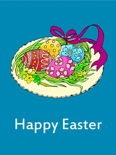 Egg & Ribbon Happy Easter Card: Easter is a holiday that is full of joy and happiness. The colorful Easter eggs brighten people's days. Share the excitement of the holiday by sending Easter cards. Happy Easter Messages, Happy Easter Wishes, Happy Easter Greetings, Happy Easter Bunny, Birthday Greeting Cards, Birthday Greetings, Card Birthday, Egg Card, Ribbon Cards