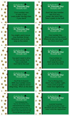 A St. Patrick's Day Treasure Hunt | Free Printables St Patrick Day Treats, St Patrick Day Activities, St Paddys Day, St Patricks Day, St Patrick's Day Crafts, Kids Crafts, Treasure Hunt Clues, St Pats, Luck Of The Irish