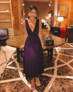 Purple Bright Wire Draped V-neck Draped Sparkly Elegant Homecoming Party Maxi Dress Nice Dresses, Casual Dresses, Formal Dresses, Party Fashion, Fashion Outfits, Evening Dresses, Prom Dresses, Date Outfits, Chic Dress