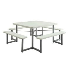 Officient Valuemax Collection Square White Plastic Picnic Table with Benches  49W * Read more reviews of the product by visiting the link on the image. (Amazon affiliate link)