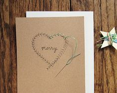 Wreath heart holiday card embroidery DIY kit