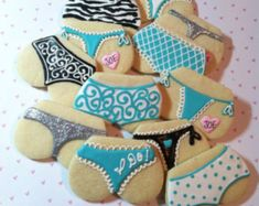 1 dozen Sassy Panties made from 3 sugar cookies and royal icing. Will match colors or your party theme. Wrapped in clear cellophane and tied with coordinating ribbon. Basic Cookies, Iced Cookies, Royal Icing Cookies, Valentine Cookies, Birthday Cookies, Cupcakes, Cupcake Cookies, Lingerie Shower Cookies, Lingerie Party
