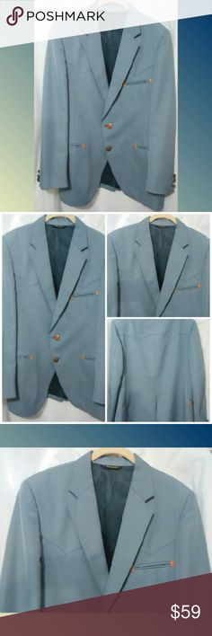 "Retro Radical Rockabilly Mens Blazer Med. Vintage baby blue Retro Western style jacket. Looks great with jeans and cowboy boots.  Sz,M Sleeve length 24.5"" shoulder to wrist. Pit to pit 21.5"" Suits & Blazers Sport Coats & Blazers"