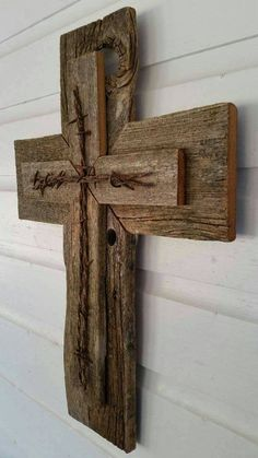 Unique Barbed Wire SALE! Rustic Cedar Wood Wall Cross Decor Barbed Wire Repurposed Reclaimed Barn Wood Country Western Gift GREAT GIFT!