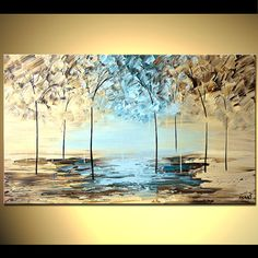 Original Blue Cream Brown Tree Painting On Canvas By Osnatfineart 399 00 Abstract Landscape