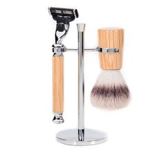 Silvertip Badger Free, Infinity Oak Shaving Set, with Mission Razor & Chrome Stand.
