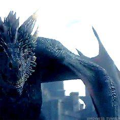 Drogon moving closer to Jon. (7x5)